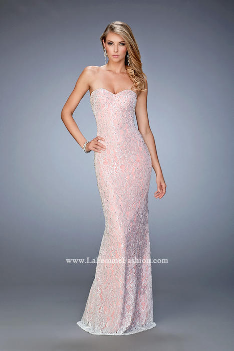 La Femme - Strapless Beaded Lace Sheath