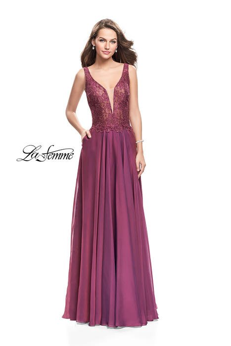 La Femme - Embroidered Sweetheart Satin V-Back Gown