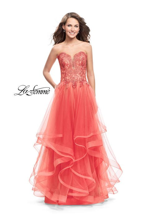 La Femme - Tulle Ball Gown Strapless Beaded Bodice