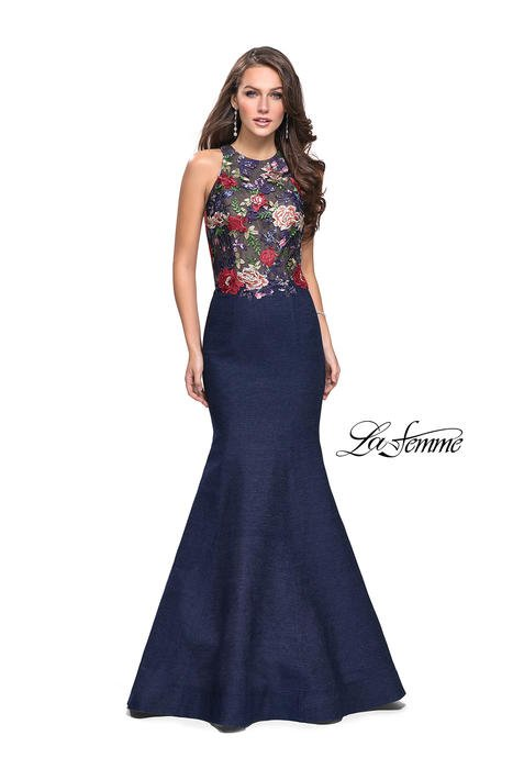 La Femme - Denim Gown Embroidered Beaded Bodice