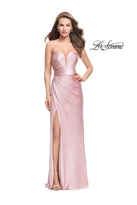 La Femme - Satin Gown Pleated Bodice Strapless