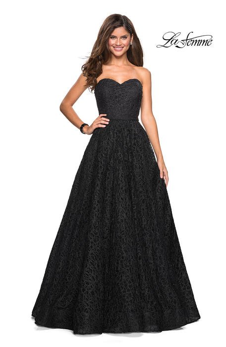 La Femme - Metallic Embroidered Strapless Gown