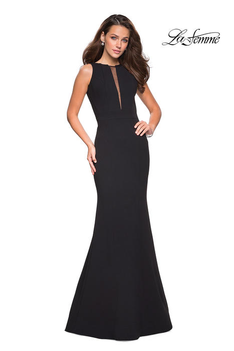 La Femme - Jersey High Neck Open Back Gown