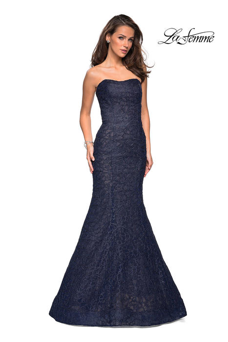 La Femme - Metallic Lace Mermaid Gown