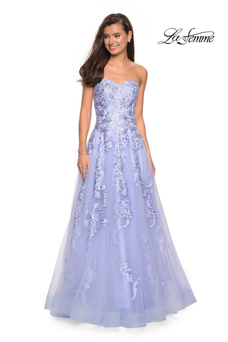 La Femme - Tulle Embroidered Strapless Gown
