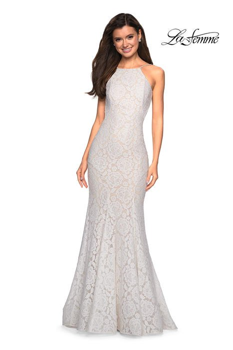 La Femme - Lace High Neck Gown