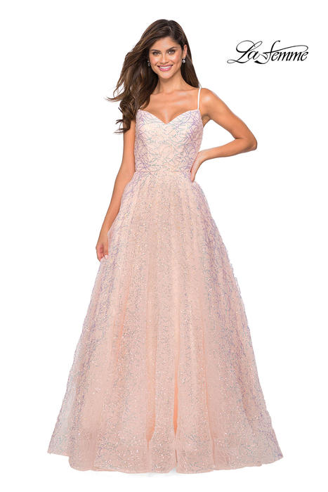 La Femme - Tulle Sequin Cross Back Gown
