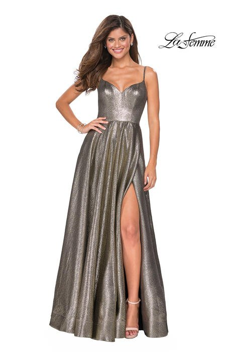 La Femme - Metallic High Slit Gown