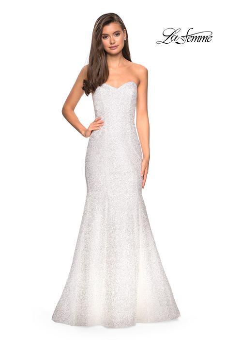 La Femme - Sequin Strapless Mermaid Gown