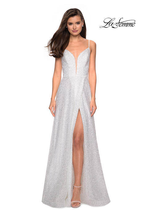 La Femme - Sequin High Slit V-Back Gown
