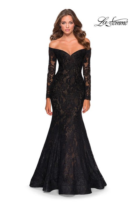 La Femme - Long Sleeve Lace Bead Gown