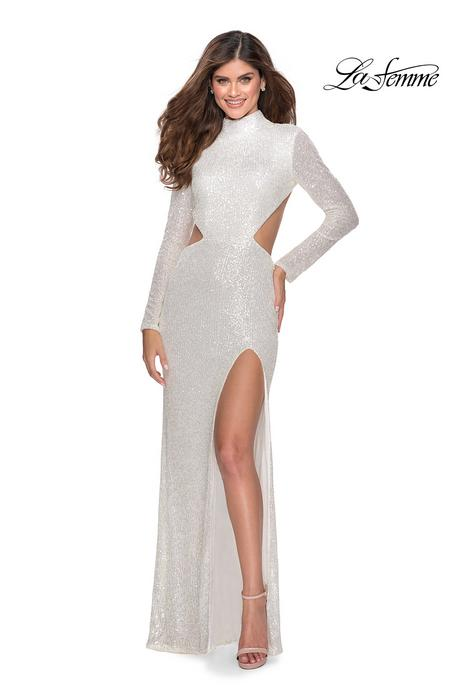 La Femme - Long Sleeve Open Waist Sequin Gown