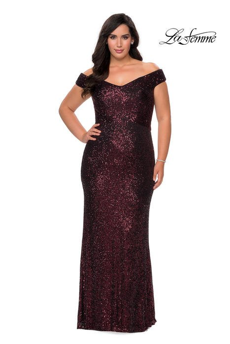 La Femme - Mesh Sequin Off the Shoulder Gown