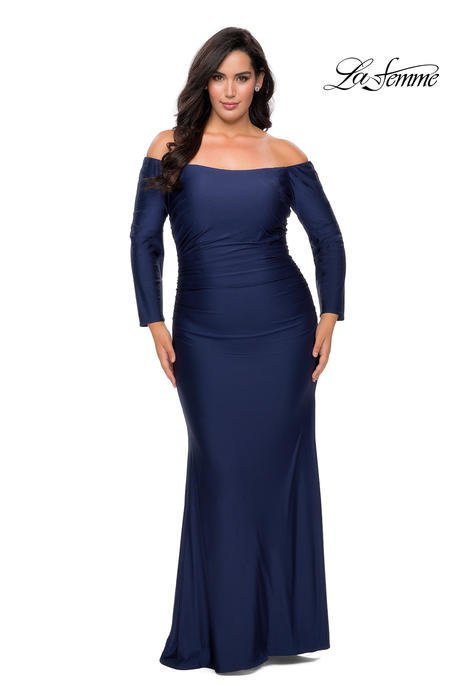La Femme - Long Sleeve Off the SHoulder Jersey Gown