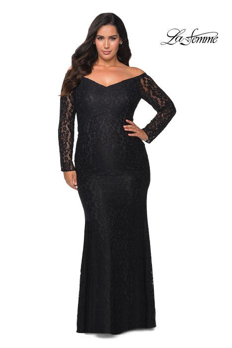 La Femme - Lace Metallic Long Sleeve Gown