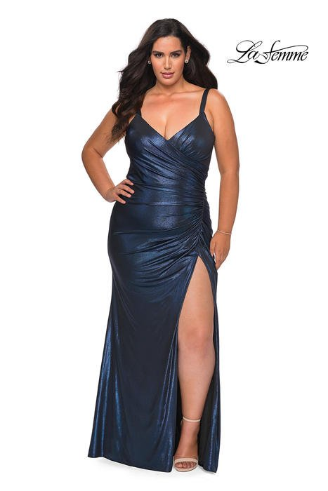 La Femme - Jersey Metallic Gown One Shoulder