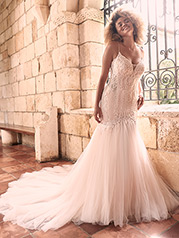 21MC385 Ivory Gown With Nude Illusion front
