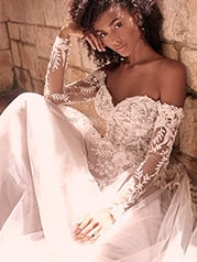 21MW359 Ivory Over Stone Gown With Nude Illusion-pictured detail
