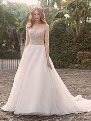 21MS356 Ivory Gown With Ivory Illusiion front