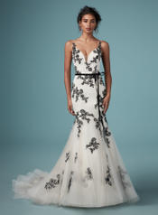 DB9MW843 Black over Antique Ivory gown with Nude Illusion front