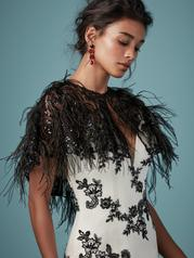 CA9MS843 Black over Antique Ivory gown with Nude Illusion detail