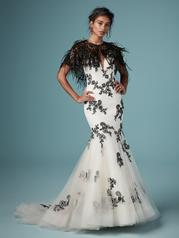 CA9MS843 Black over Antique Ivory gown with Nude Illusion front