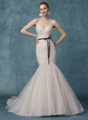 9MS108 Blush With Black Velvet Ribbon Belt front