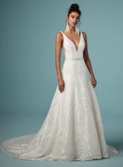 9MT824 Ivory gown with Ivory Illusion front