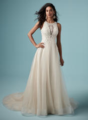 9MC916 Ivory over Light Champagne/Silver Accent gown with front