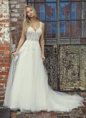 9RS818 Ivory Gown With Ivory Illusion front