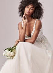 9RS818 Ivory Gown With Ivory Illusion detail