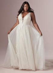 9RT827AC Ivory/Pewter Accent Gown With Ivory Illusion front