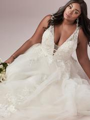 9RT827AC Ivory/Pewter Accent Gown With Ivory Illusion detail