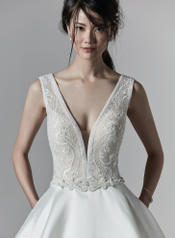 9SS863 Ivory gown with Ivory Illusion detail