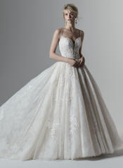 9SS869 Ivory gown with Ivory Illusion front
