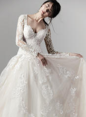 9SC841 Ivory gown with Nude Illusion detail