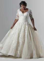 9SC841ACMC Ivory gown with Nude Illusion front