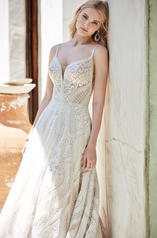 20SC214 Ivory/Pewter Accent Gown With Ivory Illusion detail