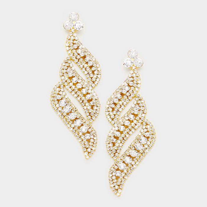 OVERSIZED PAVE CRYSTAL RHINESTONE EVENING EARRINGS