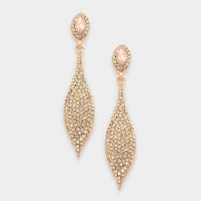 MARQUISE CRYSTAL RHINESTONE EVENING EARRINGS