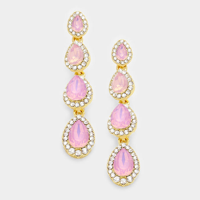 PAVE TRIM GLASS CRYSTAL TEARDROP LINK EARRINGS