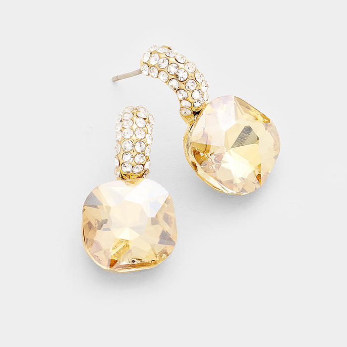 RHINESTONE RECTANGULAR STONE EVENING EARRINGS