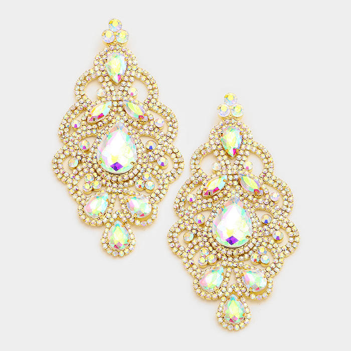 OVERSIZED MARQUISE TEARDROP GLASS ACCENTED EVENING EARRINGS