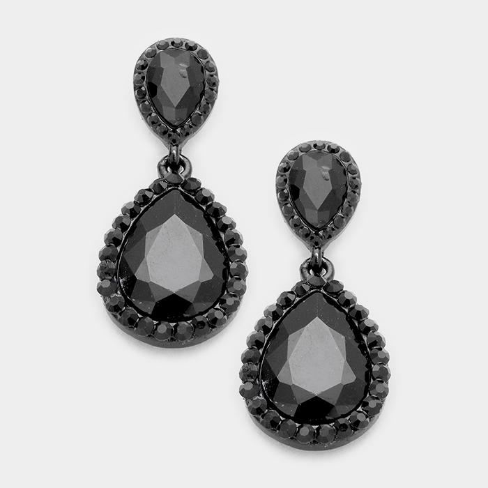 GLASS CRYSTAL DOUBLE TEARDROP EVENING EARRINGS