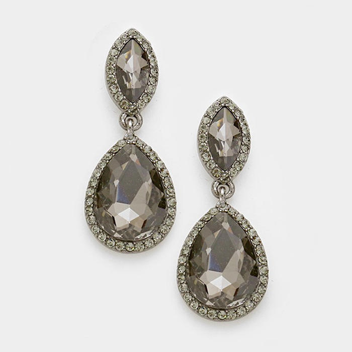 RHINESTONE TRIM GLASS CRYSTAL TEARDROP EVENING EARRINGS