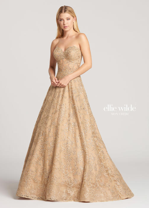 Mon Cheri - Tulle Lace Metallic Strapless Ball Gown
