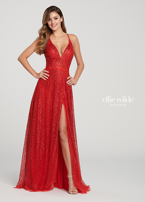 Mon Cheri - Sleeveless Tulle Gown V-Neck Side Slit