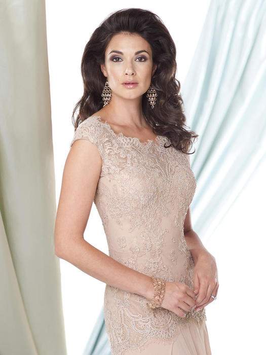 Mon Cheri - Beaded Lace Cap Sleeve Sheath Gown