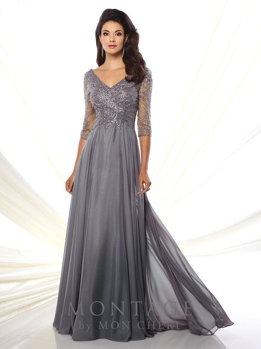 Mon Cheri - Beaded 3/4 Sleeve Chiffon Gown