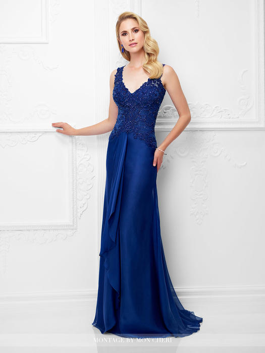Mon Cheri - Beaded V-Neck Gathered Chiffon Gown
